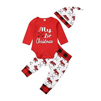 Christmas Letter Pant, Hat, Outfits For Baby Boys, Girls