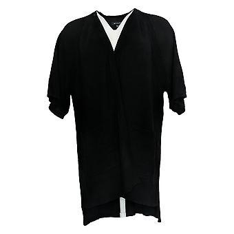H Par Halston Women-apos;s Sweater Short-Sleeve W/ Hi-Low Hem Black A385094