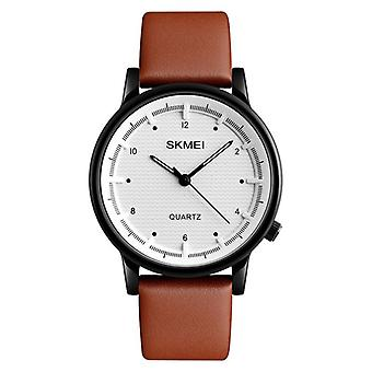 SKMEI 1210 Fashion Watch Simple Style Leather Strap Casual Quartz Analog Wrist