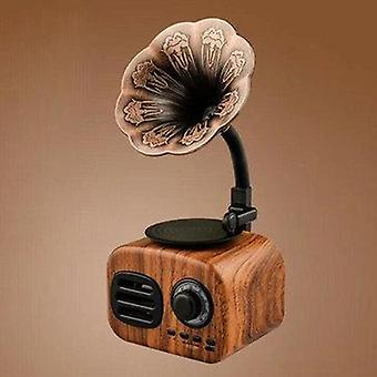 FT-BT05 Mini Portable Retro bluetooth Wooden Speaker Wireless Gramophone Handsfr