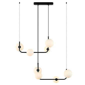 Modern hängande hängande hängslända svart 8 ljus med vit nyans, G9 dimbar