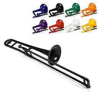 Pbone plastic trombone met mondstuk en draagtas - bb student beginner - zwart instrument alleen