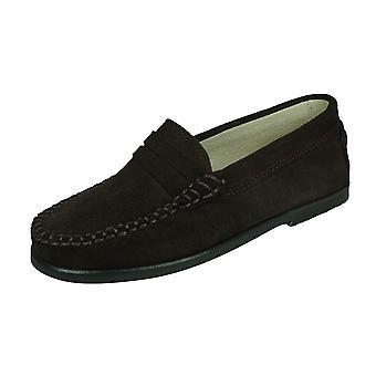 Angela Brown Harvey Toddler Boys Suede Loafer / Slip on Shoes - Brown