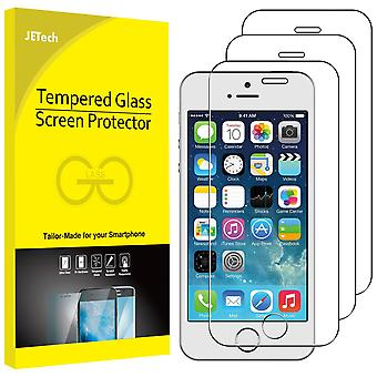 Jetech screen protector for iphone se 2016, iphone 5s 5c 5, tempered glass film, 3-pack