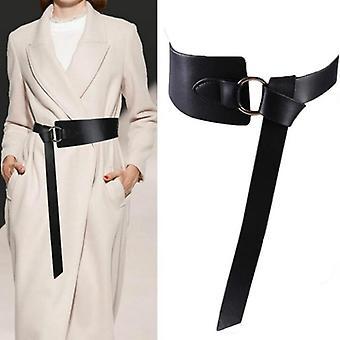 Široký kožený korzet pás žena kravatu Obi tenké červené čierne luk rekreačné pásy