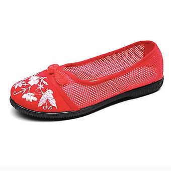 National Style Embroidered Shoes Elegant Soft Mesh Flat