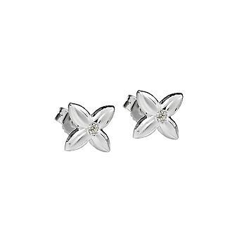 Stud Earrings Flower White Zirconia Silver 925