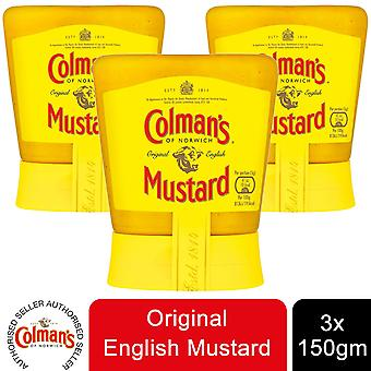 Colman's van Norwich Original English Mostard, 3 Squeezable Jars of 150g