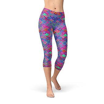 Womens Purple Pink Mermaid Capri Leggings