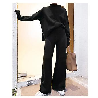 Pullover Sweater Trainingspak Vrouwen Hoge Taille Knit Wide Leg Broek Pak