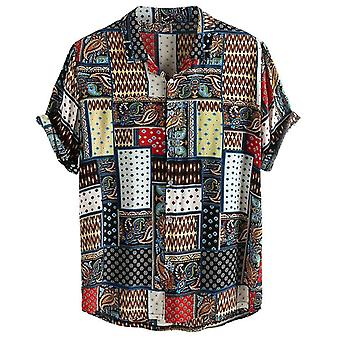Summer Men's Ethnic Style Printing Short Sleeve Loose Korean Clothes Shirts