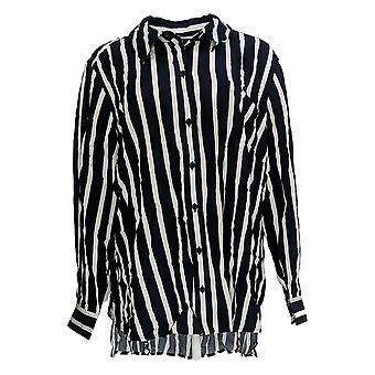 Rachel Hollis Ltd Women's Plus Top Striped Button Front Blue A374143
