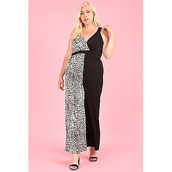 Color Block,sleeveless Jumpsuit,v-neck,band Waist,loose Fit Leg.1292