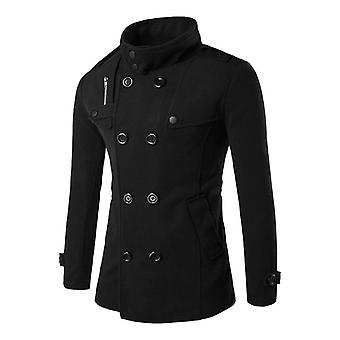 British Style Winter Coat, Double Breasted Trench Casual Slim Fit Overcoat