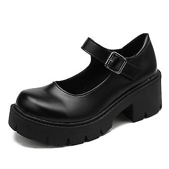 High Heels Shoes, Pumps Fashion Patent Leather Platform Shoes Woman Round Toe
