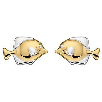 Elementos Brincos de Garanhão de Peixe Prateado - Ouro/Prata
