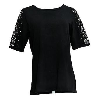 Quacker Factory Women's Top Lace Slv Knit Faux Pearl Detail Black A308121