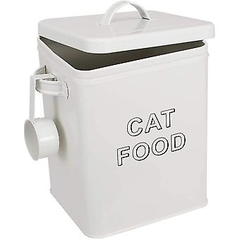 Pethiy Cat Food and Treats Containers Set with Scoop for Cats or Dogs -Tight Fitting Wood Lids