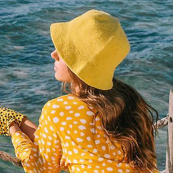 فلوريت الكروشيه دلو قبعة، باللون الأصفر