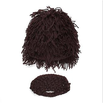 Wig Hat Mustache Hat Hand-woven Mask Hat Children's Decorative Warm Woolen Hat