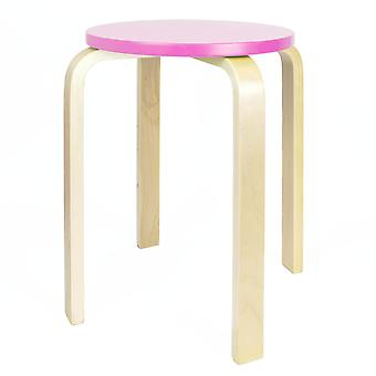 Wooden Stool - Pink