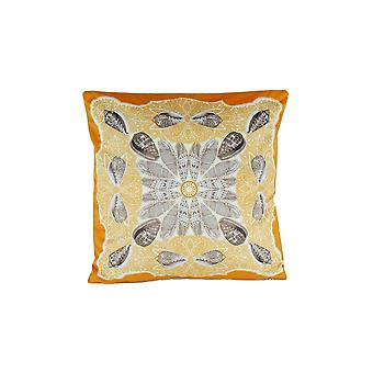 Floral Pattern Square Fabric Pillow, Orange And Gray