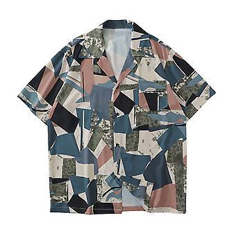 يانغفان الرجال & apos;ق هندسية طباعة قميص فضفاضة الأكمام القصيرة الأعلى