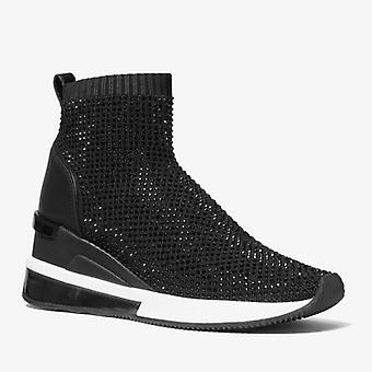 Sneaker Calzino Michael Kors Skyler In Maglia Stretch Nera Con Strass