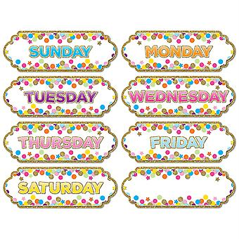 Magnetic Die-Cut Timesavers & Labels, Confetti Days Of The Week