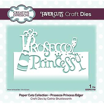 Creative Expressions Paper Cuts Collection Cutting Dies - Prosecco Princess Edger
