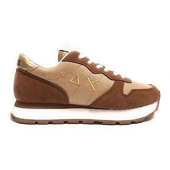 Women's Running Sneakers Sun68 Ally Thin Glitter Fabric/ Suede Gold Ds20su06