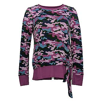 Cuddl Duds Mujeres's Top Long Slv Camo Print W/ Tie Front Purple A373474