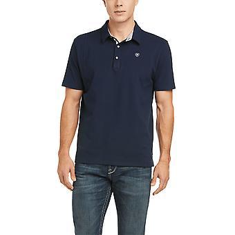Ariat Medal Mens Short Sleeved Polo Shirt - Navy Blue