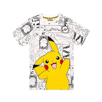 Pokemon T Shirt Boys Pikachu Pika Comic Gamer Kids White Top