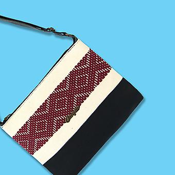 Cross-body Bag In Black Leather With Burgundy Stripe.