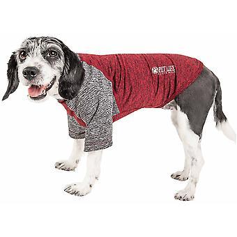 Haustier Leben aktiv 'Hybreed' 4-Wege-Stretch zweifarbige Performance Hund T-Shirt, Maroon W / grau - groß