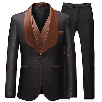 YANGFAN Men's Slim Fit 3 Piece Suit One Button
