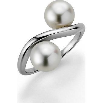 Anillo de perlas Adriana anillo de mujer agua dulce blanco 7-8 mm rhodium de plata editado L22