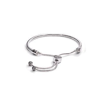 Pandora Moments Pave Heart Clasp Snake Chain Slider Bracelet - 598699C01-2
