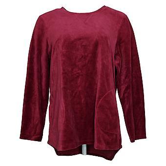 Denim & Co. Women's Top Medium Active Regular Velour Tunic Cranberry A260064