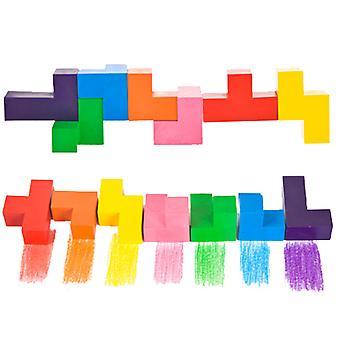 7 farge Rubik's Kube Fargestift Kreativ Skjøtesett Barn's Giftfritt Maleri Fargestift Student Kunst pensel
