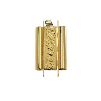 Elegant Elements Beadslides, Seed Bead Slide Tube Clasp Swirling Leaves 18x10mm, 1 Set, Gold Plated