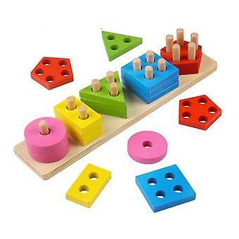 Wooden Color Recognition Colorful Geometric Board Sorting & Stack Chunky Puzzle Toys|Puzzles