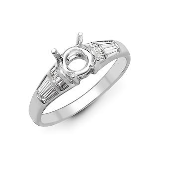Jewelco London Solid 18ct White Gold Channel Set Baguette G VS 0.36ct Diamond Semi Set Mount Engagement Ring 6mm