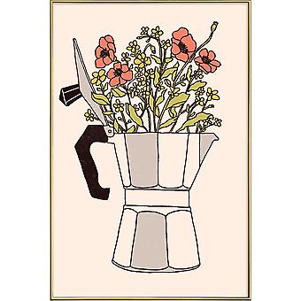 JUNIQE Print - Moka Flowers Colors - Coffee Poster in Grey & Red