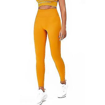 S keltainen korkea vyötärö jooga housut power venyttää leggingsit joogajuoksuun ja erilaista kuntoa x2322