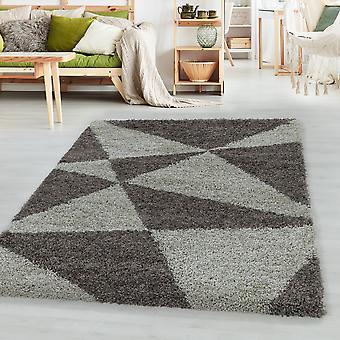 Woonkamer tapijt MANGO hoge stapel ontwerp patroon abstracte driehoeken