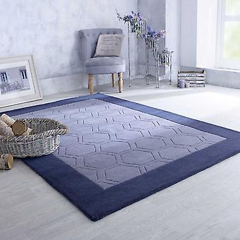 Hex Border Geometric Wool Rugs In Grey