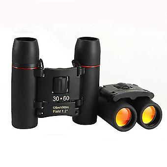 30x60 Compact Small Binoculars Puissant télescope pliant avec chiffon propre et étui de transport, jumelles de poche légères pour adultes, enfants, observation des oiseaux, astronomie, (noir)