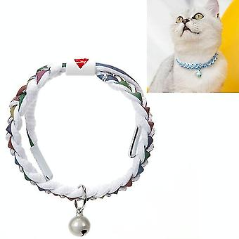 4 PCS Adjustable Pet Bell Color Cotton Woven Cat and Dog Universal Collar, Colour: Braided Colorful